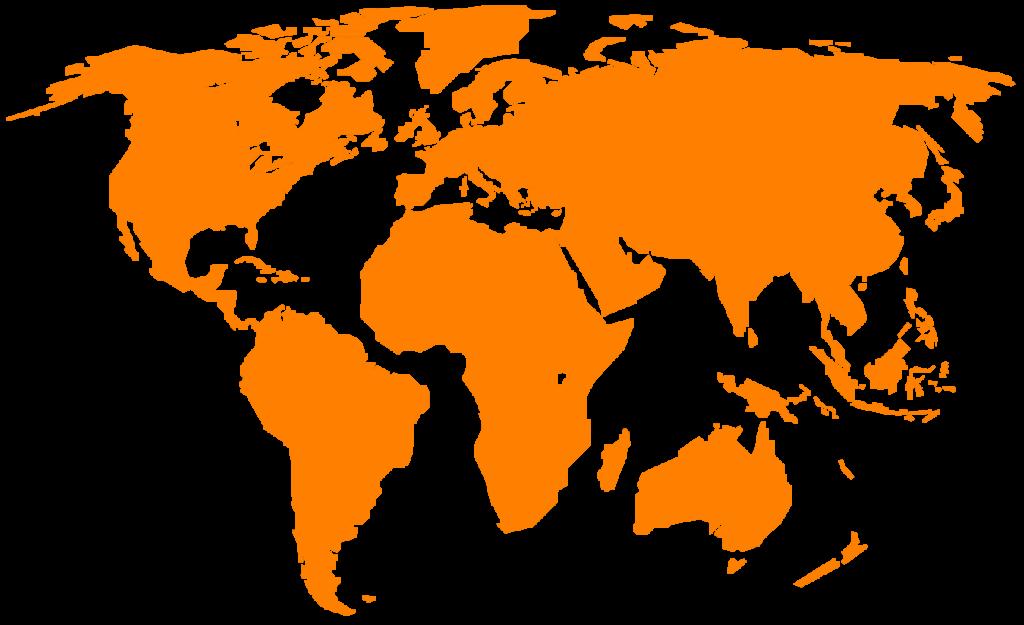 carte du monde orange